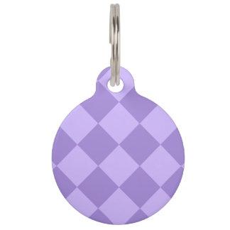 Diagは大きい-すみれ色および薄紫市松模様にしました ペット ネームタグ