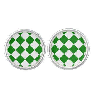 Diagは大きい-白および緑市松模様にしました カフボタン