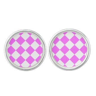 Diagは大きい-白および超ピンク市松模様にしました カフリンクス