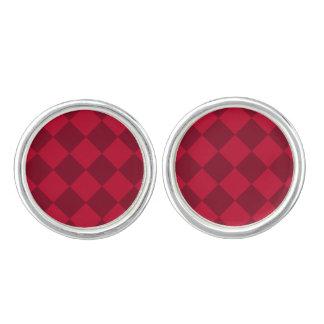 Diagは大きい-赤く、えんじ色市松模様にしました カフリンク