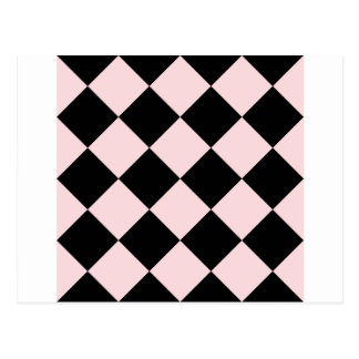 Diagは大きい-黒いおよび淡いピンク市松模様にしました ポストカード