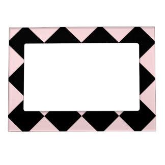 Diagは大きい-黒いおよび淡いピンク市松模様にしました マグネットフレーム