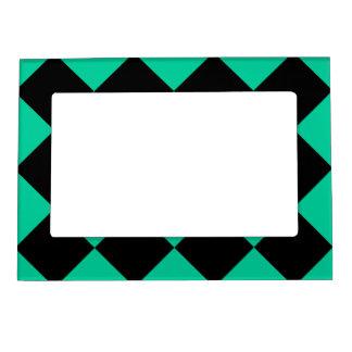 Diagは大きい-黒およびカリブの緑市松模様にしました マグネットフレーム