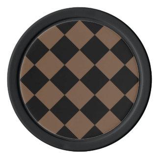 Diagは大きい-黒およびコーヒー市松模様にしました ポーカーチップ