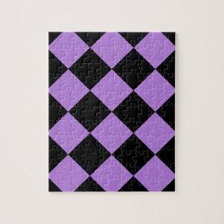 Diagは大きい-黒およびラベンダー市松模様にしました ジグゾーパズル