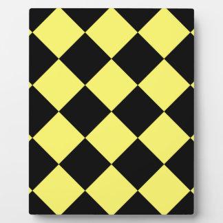 Diagは大きい-黒およびレモン市松模様にしました フォトプラーク