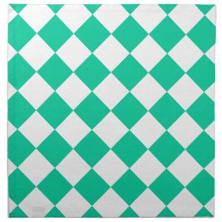 Diagは-白いおよびカリブの緑市松模様になりました ナプキンクロス