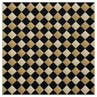 Diagonal Checks Black/Gold Damask DCRX ファブリック