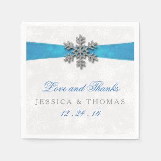 Diamanteの雪片及び一流の冬の結婚式 スタンダードカクテルナプキン