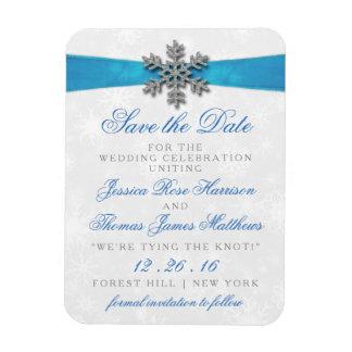 Diamanteの雪片及び一流の冬の結婚式 フレックスマグネット