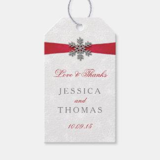 Diamanteの雪片及び赤いリボンの冬の結婚式 ギフトタグパック