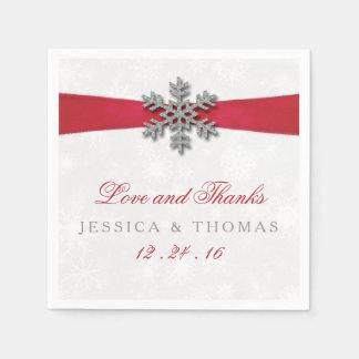 Diamanteの雪片及び赤いリボンの冬の結婚式 スタンダードカクテルナプキン