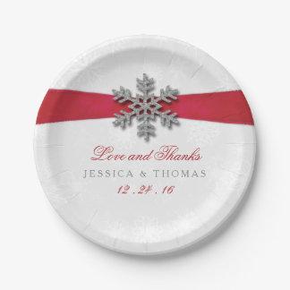 Diamanteの雪片及び赤いリボンの冬の結婚式 ペーパープレート