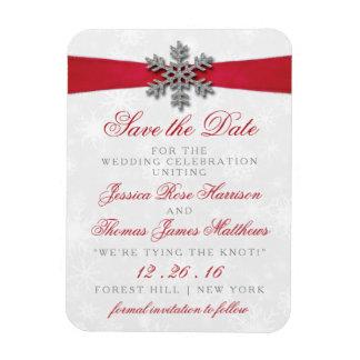 Diamanteの雪片及び赤いリボンの冬の結婚式 長方形マグネット