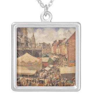 Dieppe、明るいMorning 1901年の市 シルバープレートネックレス