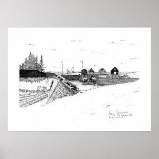 Digby、ノバスコシアの漁船のペン及びインク ポスター