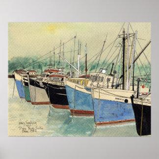 Digby、ノバスコシアの漁船、水彩画 ポスター