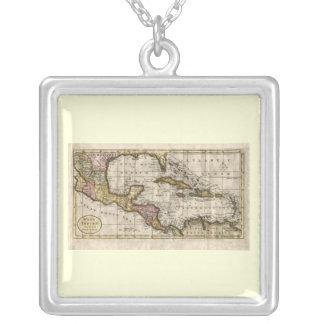 Dillyおよびロビンソン著西インド諸島の1790地図 シルバープレートネックレス