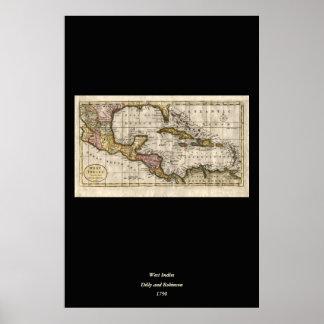 Dillyおよびロビンソン著西インド諸島の1790地図 ポスター