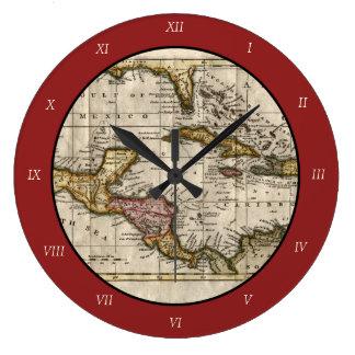 Dillyおよびロビンソン著西インド諸島の1790地図 ラージ壁時計