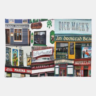 Dingleのパブ、コラージュ、アイルランド語、アイルランドのふきん キッチンタオル