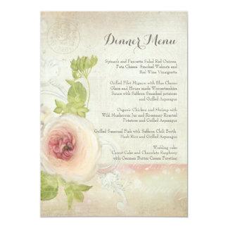 Dinner Menu Vintage Peony Flower Elegant Floral カード