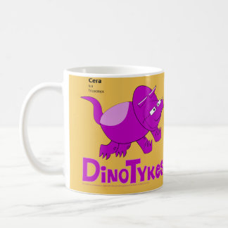 Dinotykes Ceraはトリケラトプスの黄色の背景幕です コーヒーマグカップ