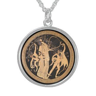 Dionysusおよびサテュロス スターリングシルバーネックレス