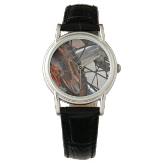 Dirt_Bike_Wheelの_Ladies_Black_Leather_Watch 腕時計