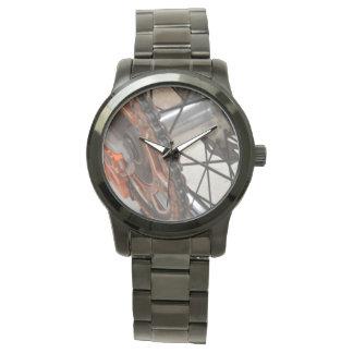 Dirt_Bike_Wheelの_Unisex_Large_Black_Bracelet_Watch 腕時計