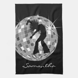 DiscoBallの素晴しいダンサーのシルエット キッチンタオル