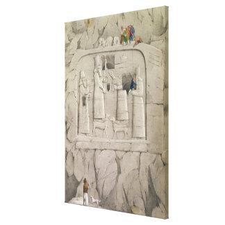 「Discovからのアッシリアの石の彫刻を、検査します キャンバスプリント