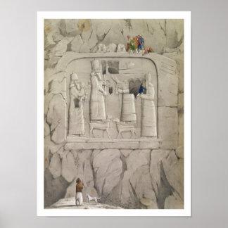 「Discovからのアッシリアの石の彫刻を、検査します ポスター