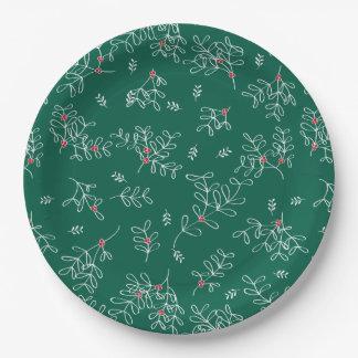 Ditsyのお祝いの緑のヤドリギの紙皿 ペーパープレート
