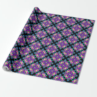 Diwali Giftwrapのピンク、青、Rangoli黒いパターン ラッピングペーパー