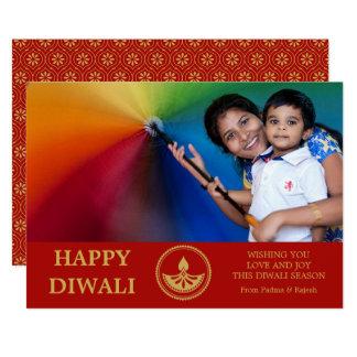 Diwali Photo Greeting Card - Custom Color カード