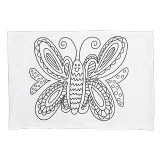 DIYの落書きの枕カバーを着色している蝶 枕カバー