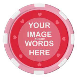 DIYの~のバレンタインのピンクのハートのポーカー用のチップ ポーカーチップ