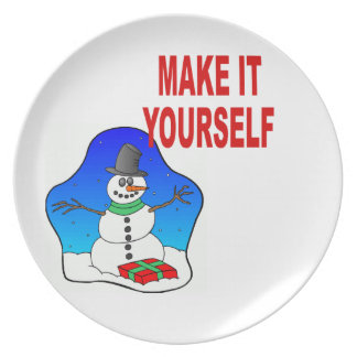 DIYはあなた自身のクリスマスの雪だるまの休日のプレートを作ります プレート