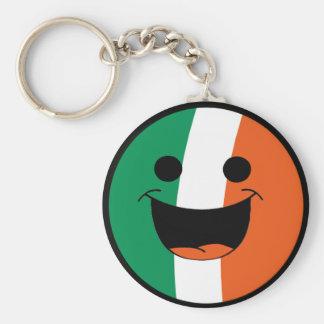 DIYセントパトリックのアイルランドの旗のスマイリーフェイスの不良 キーホルダー
