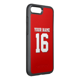 DIY色の背景のプレッピーなチームジャージーの赤 オッターボックスシンメトリーiPhone 8 PLUS/7 PLUSケース