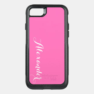 DIY色の背景、一流のモノグラムNBのショッキングピンク オッターボックスコミューターiPhone 7ケース