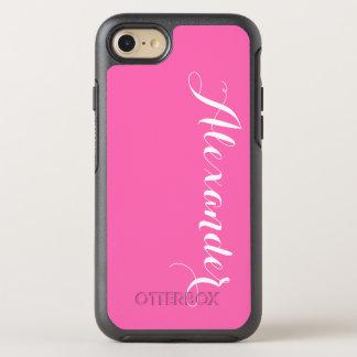 DIY色の背景、一流のモノグラムNBのショッキングピンク オッターボックスシンメトリーiPhone 7 ケース
