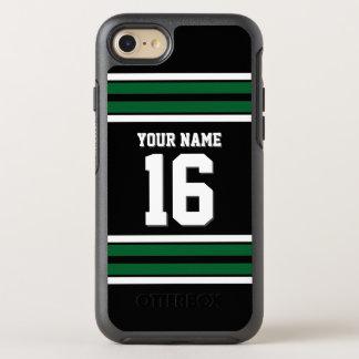 DIY色BG、深緑色のチームジャージーのプレッピーなストライプ オッターボックスシンメトリーiPhone 7 ケース