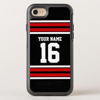DIY色BG、赤いチームジャージーのプレッピーなストライプ オッターボックスシンメトリーiPhone 7 ケース