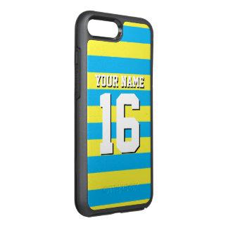 DIY色BG、黄色いチームジャージーのプレッピーなストライプ オッターボックスシンメトリーiPhone 7 PLUSケース