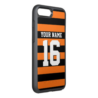 DIY色BG、黒いチームジャージーのプレッピーなストライプ オッターボックスシンメトリーiPhone 8 PLUS/7 PLUSケース