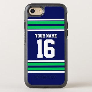 DIY色BG、Emldの緑のチームジャージーのプレッピーなストライプ オッターボックスシンメトリーiPhone 8/7 ケース