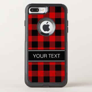 DIY BGの赤い黒いバッファローの格子縞の名前のモノグラム オッターボックスコミューターiPhone 8 PLUS/7 PLUSケース