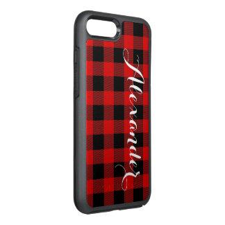 DIY BGの赤い黒いバッファローの格子縞の名前のモノグラム オッターボックスシンメトリーiPhone 7 PLUSケース